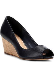 Peep Toe Couro Shoestock Anabela Ráfia - Feminino-Marinho