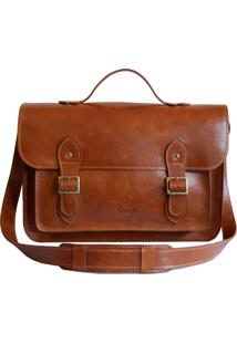 Bolsa Line Store Leather Satchel Grande Couro Whisky Rústico - Kanui