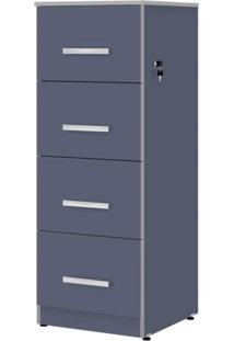 Gaveteiro Para Escritório 4 Gavetas Com Chave Plata Móveis Azul/Cinza