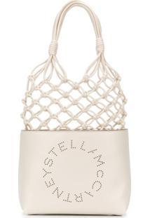 Stella Mccartney Bolsa Com Logo E Nó - Branco