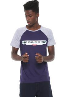 Camiseta Tectoy Raglan Mega Drive Sega Authentic Azul-Marinho/Cinza