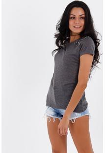 Camiseta Com Pedrarias Feminina Acrobat - Cinza