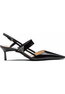 Prada Sapato De Couro Envernizado - Preto