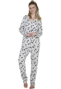 Pijama Aberto Inspirate Cats Feminino - Feminino-Branco+Preto