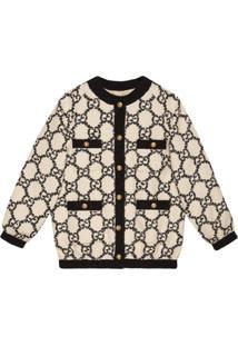 Gucci Jaqueta Bomber Oversized Em Tweed Gg - Branco