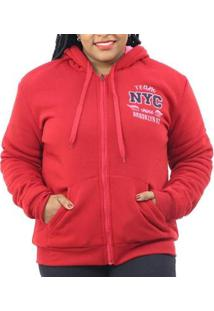 Jaqueta Moletom Plus Size Pelo Interno Capuz Feminina - Feminino-Vermelho