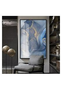 Quadro 150X100Cm Abstrato Freyr Vidro Cristal E Moldura Preta Decorativo Interiores - Oppen House