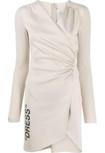 Off-White Vestido Franzido Com Mangas Caneladas - Neutro