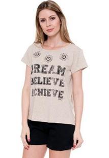 Camiseta Bisô T-Shirt Dream Feminina - Feminino-Bege
