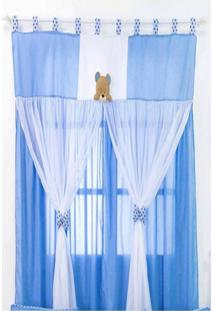 Cortina Para Quarto De Beb㪠FamãLia Urso Azul - Azul - Menino - Dafiti