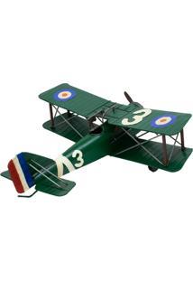 Enfeite Retrô Minas De Presentes Avião Verde - Kanui