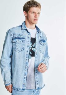 Camisa Jeans Com Puídos