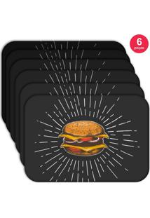 Jogo Americano Love Decor Wevans Hamburguer Kit Com 6 Pçs