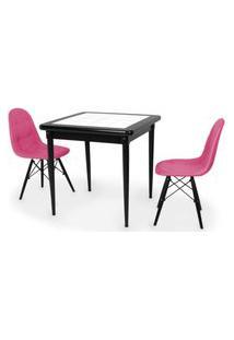 Conjunto Mesa De Jantar Em Madeira Preto Prime Com Azulejo + 2 Cadeiras Botonê - Rosa