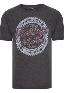 Camiseta Masculina Vintage Motor - Cinza