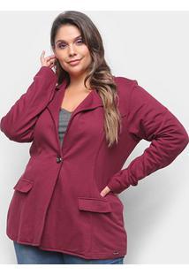 Blazer Maelle Plus Size Feminino - Feminino-Vinho