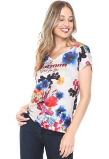 Camiseta Carmim Estampada Off-White/Rosa