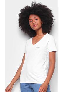 Blusa Calvin Klein Slim Logo Gola V Feminina - Feminino-Branco