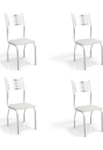 Conjunto Com 4 Cadeiras De Cozinha Munique Cromado E Branco