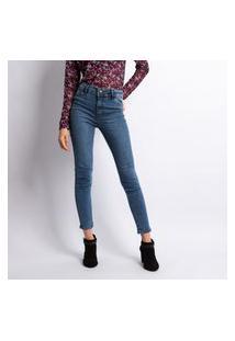Calça Feminina Skinny Jeans Lavagem Escura Estonada Bolso Falso Jeans