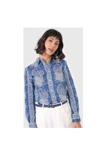 Camisa Polo Ralph Lauren Reta Printed Azul