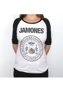 Jamones - Camiseta Raglan Manga ¾ Feminina