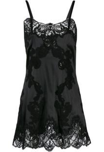Dolce & Gabbana Slip Dress Com Renda - Preto