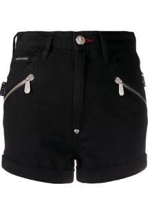 Philipp Plein Bermuda Jeans Com Detalhes De Zíper - Preto