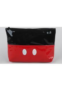 Nécessaire Trapézio Mickey Com Zíper Vermelha
