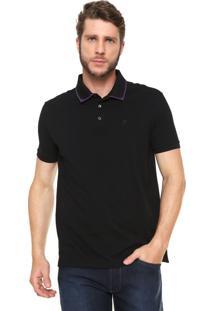 Camisa Polo Ellus Reta Collar Frame Preta/Roxa