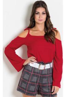 Blusa Vermelha Com Alças Para Amarração