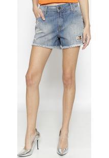 Short Jeans Com Destroyed & Bolsos - Azulcalvin Klein