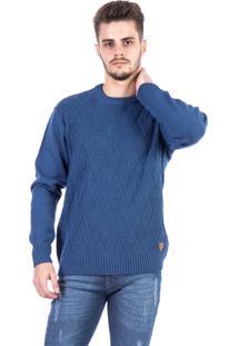 Blusa Tricot Carlan Decote Redondo Locked Azul
