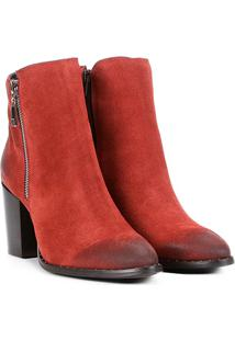 Bota Couro Cano Curto Shoestock Salto Bloco Feminina - Feminino-Laranja Escuro