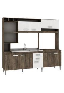 Cozinha Compacta Helen S/Tampo Naturalle/Branco Fellicci Móveis