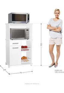 Armário Multiuso Com Rodízio E Fruteira Premium Zanzini Branco