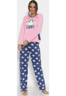 """Pijama Em Moletom """"Love"""" Com Recortes- Rosa & Azul Marinpuket"""