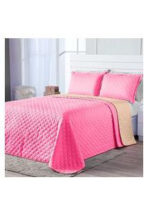 Kit Cobre Leito Dual Color Pink/Caqui Casal Padráo 03 Peças - Dupla Face