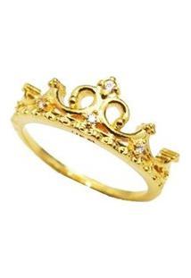 Anel Diva Coroa Banhado A Ouro 18K