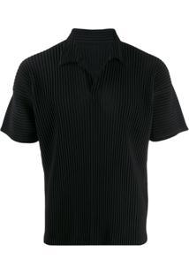 Homme Plissé Issey Miyake Camisa Polo Com Pregas - Preto