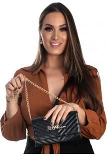 Bolsa Transversal Feminina Corrente Blogueira Preto - Kanui