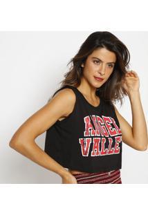 """Blusa Cropped """"Angelâ® Valley""""- Preta & Vermelhaangel"""