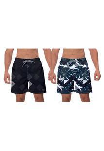 Kit 2 Shorts Praia Preto E Folhas Verdes Escuras Estampado Floral Banho Piscina Moda Academia W2