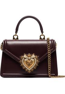 Dolce & Gabbana Bolsa Transversal Devotion Pequena De Couro - Vermelho
