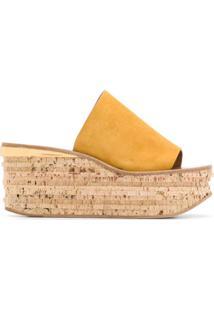 Chloé Sapato Mule Camille Com Salto Anabela - Amarelo