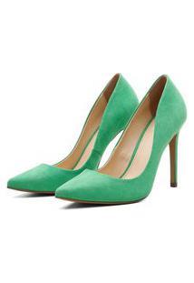 Scarpin Suede Feminino Salto Alto Bico Fino Casual Conforto Verde