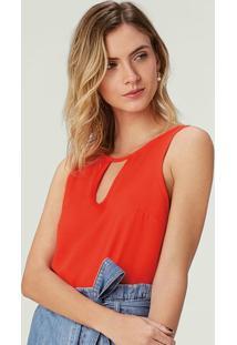 Blusa Vermelho Em Crepe Com Abertura