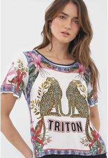 Camiseta Triton Estampada Off-White/Azul