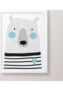 Quadro Decorativo Urso Listrado Moldura Branca
