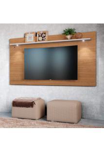 Painel Home Para Tv Até 65 Polegadas 1 Prateleira Astúrias Colibri Móveis Natural Real/Off White